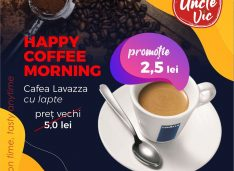Terasa Uncle Vic s-a redeschis cu Happy Coffee Morning: 2,5 lei o cafea Lavazza cu lapte