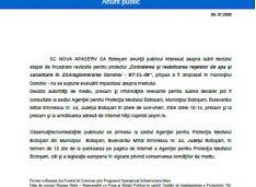 """Anunț etapa incadrare pentru proiectul """"Extinderea și reabilitarea reţelelor de apa și canalizare în ZAA/aglomerarea Dorohoi – BT-CL-06"""""""