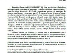 Aviz de mediu solicitat de Nova Apaserv pentru continuarea lucrărilor la rețele de apă-canalizare în Aglomerarea Vorona