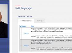 Senatorul Cosma de la AUR are deja două inițiative legislative. Una prevede eliminarea subvențiilor primite de partidele parlamentare de la buget