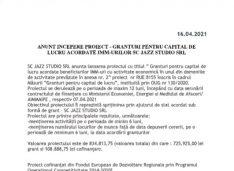 ANUNT INCEPERE PROIECT – GRANTURI PENTRU CAPITAL DE LUCRU ACORDATE IMM-URILOR SC JAZZ STUDIO SRL